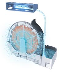 水トレイの水にも高速分子を照射する「水除菌」も行う