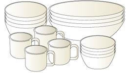 「キャンプ用食器」はメーカーとサイズを統一して、見た目も収納もキレイに!