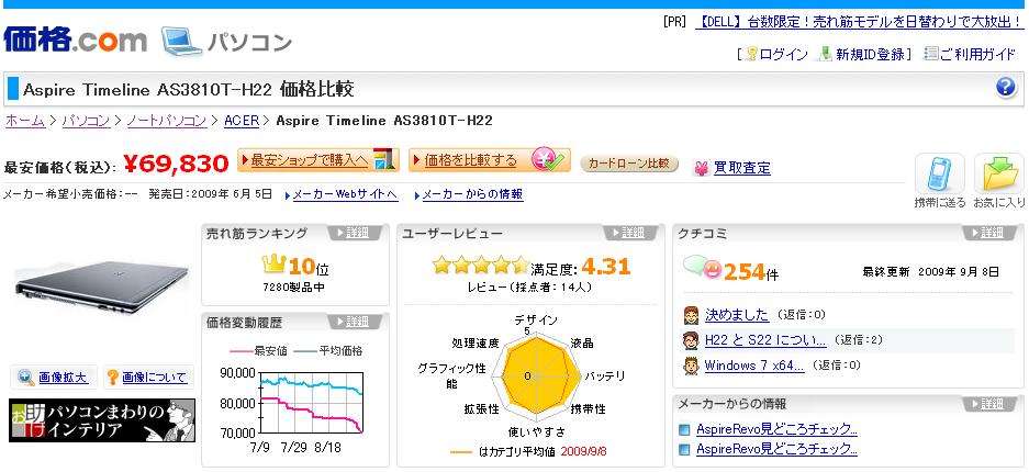 【図4 価格.comにおける「Aspire Timeline」詳細情報ページ】