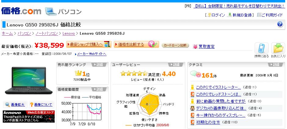 【【図5 価格.comにおける「Lenovo G550」詳細情報ページ】